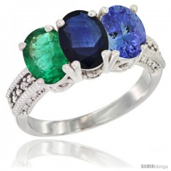 14K White Gold Natural Emerald, Blue Sapphire & Tanzanite Ring 3-Stone 7x5 mm Oval Diamond Accent
