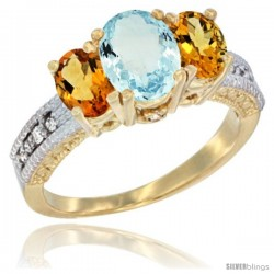14k Yellow Gold Ladies Oval Natural Aquamarine 3-Stone Ring with Citrine Sides Diamond Accent