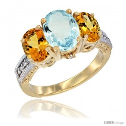 14K Yellow Gold Ladies 3-Stone Oval Natural Aquamarine Ring with Citrine Sides Diamond Accent