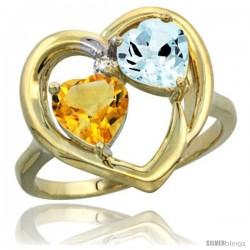 14k Yellow Gold 2-Stone Heart Ring 6mm Natural Citrine & Aquamarine Diamond Accent