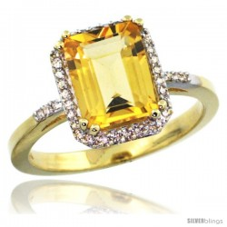 14k Yellow Gold Diamond Citrine Ring 2.53 ct Emerald Shape 9x7 mm, 1/2 in wide
