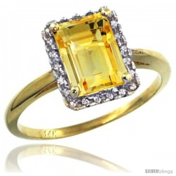 14k Yellow Gold Diamond Citrine Ring 1.6 ct Emerald Shape 8x6 mm, 1/2 in wide