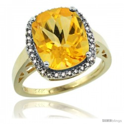 14k Yellow Gold Diamond Citrine Ring 5.17 ct Checkerboard Cut Cushion 12x10 mm, 1/2 in wide