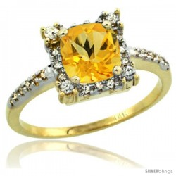 14k Yellow Gold Diamond Halo Citrine Ring 1.2 ct Checkerboard Cut Cushion 6 mm, 11/32 in wide