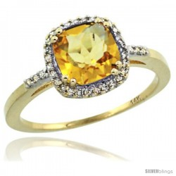 14k Yellow Gold Diamond Citrine Ring 1.5 ct Checkerboard Cut Cushion Shape 7 mm, 3/8 in wide