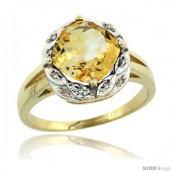 14k Yellow Gold Diamond Halo Citrine Ring 2.7 ct Checkerboard Cut Cushion Shape 8 mm, 1/2 in wide