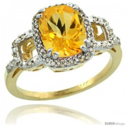 14k Yellow Gold Diamond Citrine Ring 2 ct Checkerboard Cut Cushion Shape 9x7 mm, 1/2 in wide
