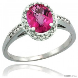 Sterling Silver Diamond Natural Pink Topaz Ring Oval Stone 8x6 mm 1.17 ct 3/8 in wide