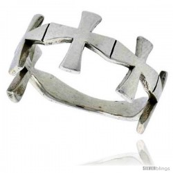 Sterling Silver Cross Link Ring 3/8 wide