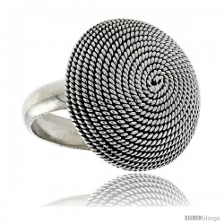 Sterling Silver Round Whirl Ring 15/16 in wide