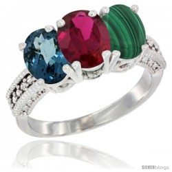 14K White Gold Natural London Blue Topaz, Ruby & Malachite Ring 3-Stone 7x5 mm Oval Diamond Accent