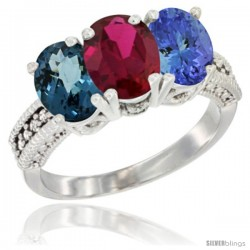 14K White Gold Natural London Blue Topaz, Ruby & Tanzanite Ring 3-Stone 7x5 mm Oval Diamond Accent