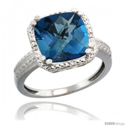 14k White Gold Diamond London Blue Topaz Ring 5.94 ct Checkerboard Cushion 11 mm Stone 1/2 in wide