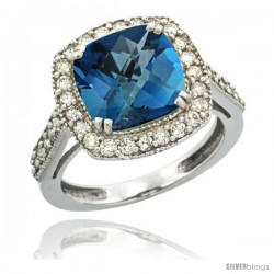 14k White Gold Diamond Halo London Blue Topaz Ring Checkerboard Cushion 9 mm 2.4 ct 1/2 in wide