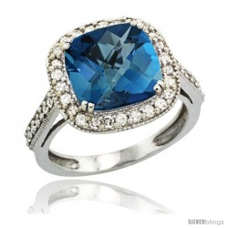 14k White Gold Diamond Halo London Blue Topaz Ring Cushion Shape 10 mm 4.5 ct 1/2 in wide