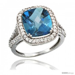 14k White Gold Diamond Halo London Blue Topaz Ring Checkerboard Cushion 12x10 4.8 ct 3/4 in wide