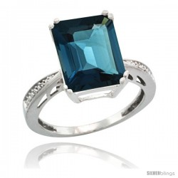 14k White Gold Diamond London Blue Topaz Ring 5.83 ct Emerald Shape 12x10 Stone 1/2 in wide -Style Cw405149