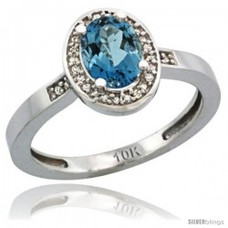 14k White Gold Diamond London Blue Topaz Ring 1 ct 7x5 Stone 1/2 in wide