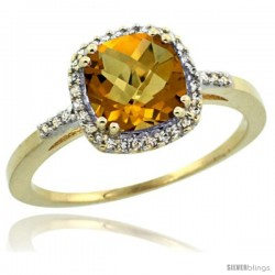 10k Yellow Gold Diamond Whisky Quartz Ring 1.5 ct Checkerboard Cut Cushion Shape 7 mm, 3/8 in wide