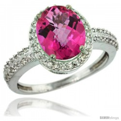 Sterling Silver Diamond Natural Pink Topaz Ring Oval Stone 10x8 mm 2.4 ct 1/2 in wide