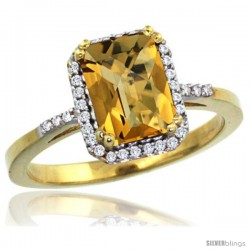 10k Yellow Gold Diamond Whisky Quartz Ring 1.6 ct Emerald Shape 8x6 mm, 1/2 in wide -Style Cy926129