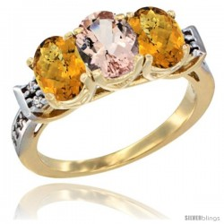 10K Yellow Gold Natural Morganite & Whisky Quartz Sides Ring 3-Stone Oval 7x5 mm Diamond Accent