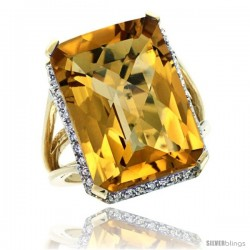 10k Yellow Gold Diamond Whisky Quartz Ring 14.96 ct Emerald shape 18x13 mm Stone, 13/16 in wide