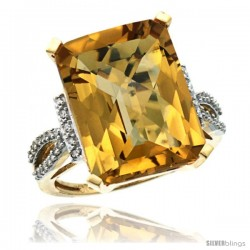 10k Yellow Gold Diamond Whisky Quartz Ring 12 ct Emerald Shape 16x12 Stone 3/4 in wide