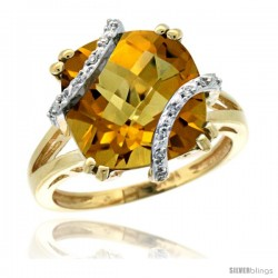 10k Yellow Gold Diamond Amethyst Ring 7.5 ct Cushion Cut 12 mm Stone, 1/2 in wide -Style Cy926135