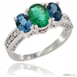 14k White Gold Ladies Oval Natural Emerald 3-Stone Ring with London Blue Topaz Sides Diamond Accent