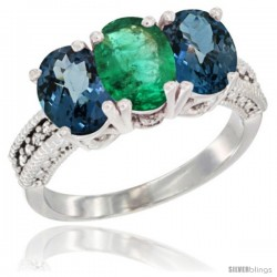 14K White Gold Natural Emerald & London Blue Topaz Sides Ring 3-Stone 7x5 mm Oval Diamond Accent