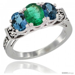 14K White Gold Natural Emerald & London Blue Ring 3-Stone Oval with Diamond Accent
