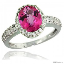 Sterling Silver Diamond Natural Pink Topaz Ring Oval Stone 9x7 mm 1.76 ct 1/2 in wide