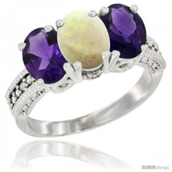 10K White Gold Natural Opal & Amethyst Sides Ring 3-Stone Oval 7x5 mm Diamond Accent