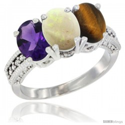 10K White Gold Natural Amethyst, Opal & Tiger Eye Ring 3-Stone Oval 7x5 mm Diamond Accent