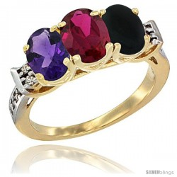 10K Yellow Gold Natural Amethyst, Ruby & Black Onyx Ring 3-Stone Oval 7x5 mm Diamond Accent