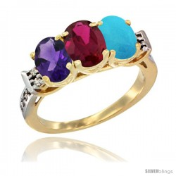 10K Yellow Gold Natural Amethyst, Ruby & Turquoise Ring 3-Stone Oval 7x5 mm Diamond Accent