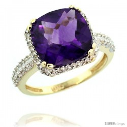 10k Yellow Gold Diamond Halo Amethyst Ring Checkerboard Cushion 11 mm 5.85 ct 1/2 in wide -Style Cy901142
