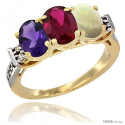 10K Yellow Gold Natural Amethyst, Ruby & Opal Ring 3-Stone Oval 7x5 mm Diamond Accent