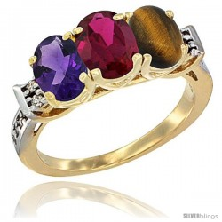 10K Yellow Gold Natural Amethyst, Ruby & Tiger Eye Ring 3-Stone Oval 7x5 mm Diamond Accent