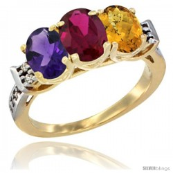 10K Yellow Gold Natural Amethyst, Ruby & Whisky Quartz Ring 3-Stone Oval 7x5 mm Diamond Accent