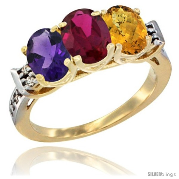https://www.silverblings.com/44250-thickbox_default/10k-yellow-gold-natural-amethyst-ruby-whisky-quartz-ring-3-stone-oval-7x5-mm-diamond-accent.jpg