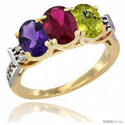 10K Yellow Gold Natural Amethyst, Ruby & Lemon Quartz Ring 3-Stone Oval 7x5 mm Diamond Accent