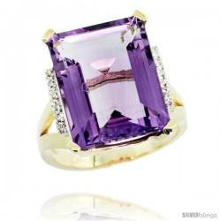 10k Yellow Gold Diamond Amethyst Ring 12 ct Emerald Cut 16x12 stone 3/4 in wide