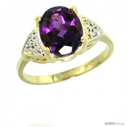 10k Yellow Gold Diamond Amethyst Ring 2.40 ct Oval 10x8 Stone 3/8 in wide