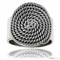Sterling Silver Round Whirl Ring 15/16 in wide -Style Xr215
