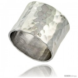 Sterling Silver Hammered Finish Flat Band, 9/16 in wide