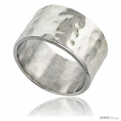 Sterling Silver Hammered Finish Flat Band, 1/2 in wide