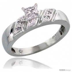 10k White Gold Diamond Engagement Ring 0.07 cttw Brilliant Cut, 3/16 in wide -Style Ljw016er