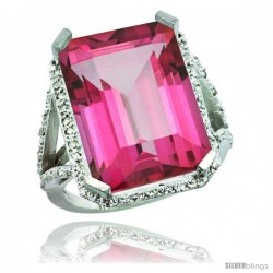 Sterling Silver Diamond Natural Pink Topaz Ring 14.96 ct Emerald Shape 18x13 Stone 13/16 in wide